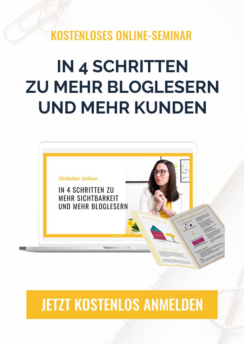 In 4 Schritten zu mehr Bloglesern! Kostenloses SEO Webinar für Blogger & Websitebetreiber - Jetzt anmelden!