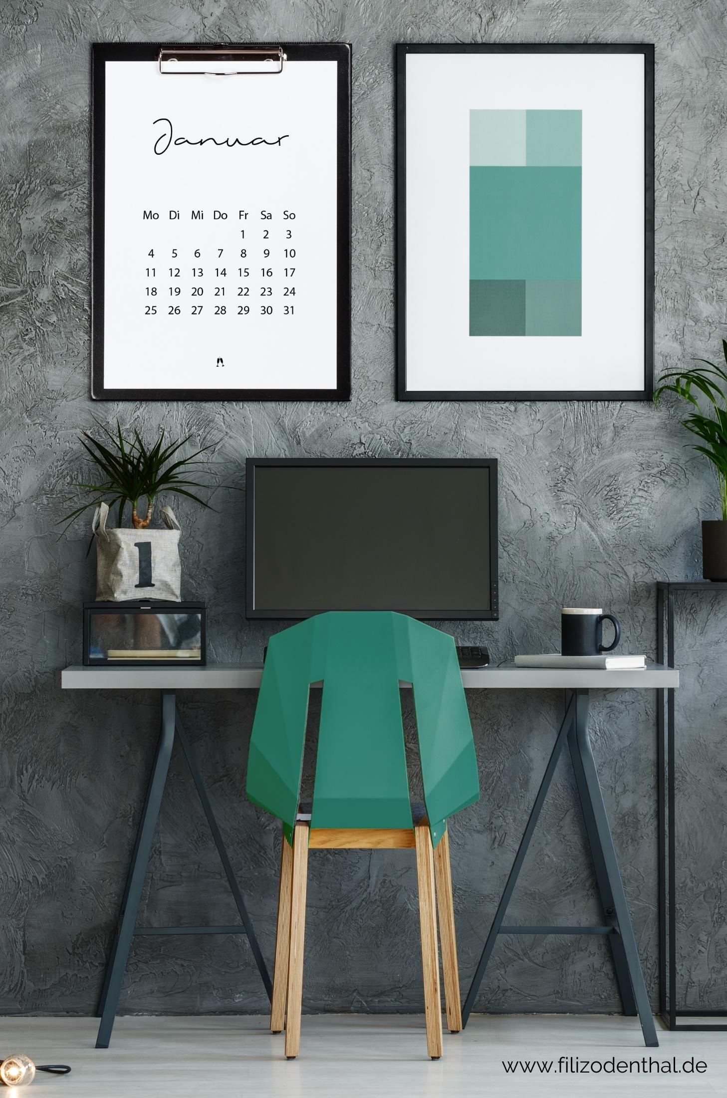 Minimalistischer Kalender 2021 für dein Büro – Druckvorlagen Wandkalender A4, A3, Tischkalender A5 | Filiz Odenthal - Positionierung & Sichtbarkeit